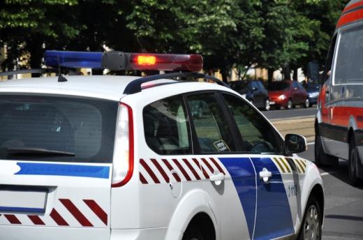 Egy rendőrautó halad az úton.