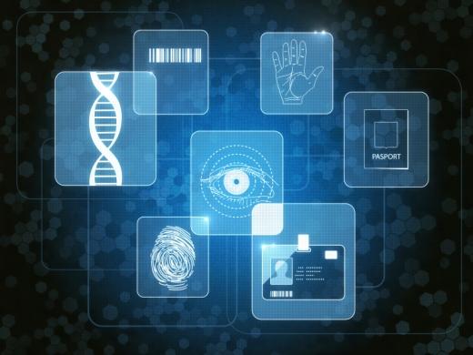Egy képen a biometrikus útlevél alkotói: dns, ujjlenyomat. tenyér, szem, vonalkód.