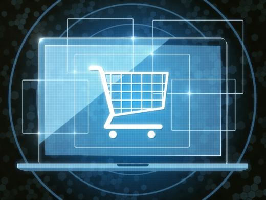 Egy bevásárló piktogram kék laptop előtt.