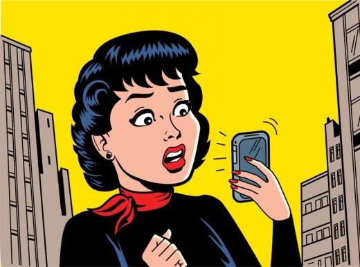 Rajzolt kép: Egy nő csodálkozva nézi a telefonját, ami csörög.