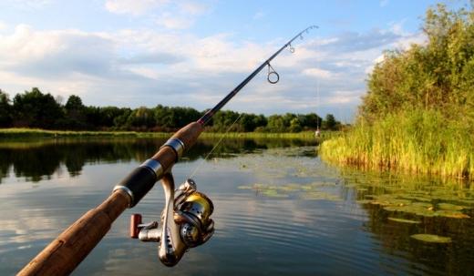 Egy horgászbot belóg egy tóba.