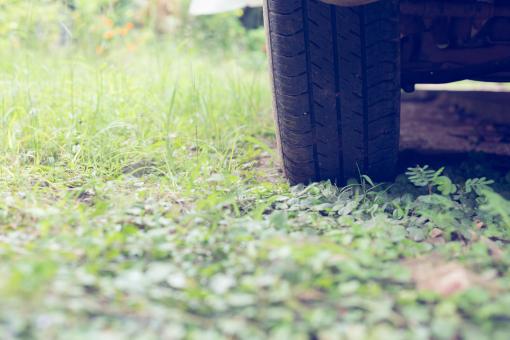 Egy autó kereke egy füves területen van.