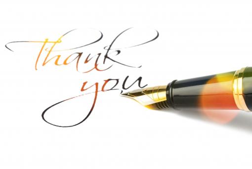 Egy tollal azt írták le, hogy Thank you.